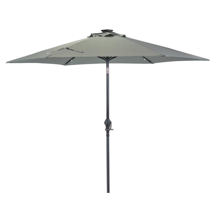 sun ray 106 3 ft grey solar powered push button tilt market patio umbrella