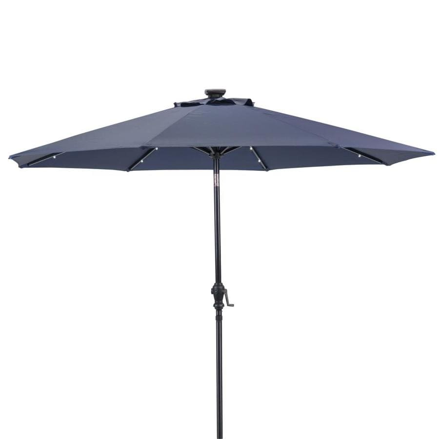 sun ray 106 3 ft denim solar powered push button tilt market patio umbrella