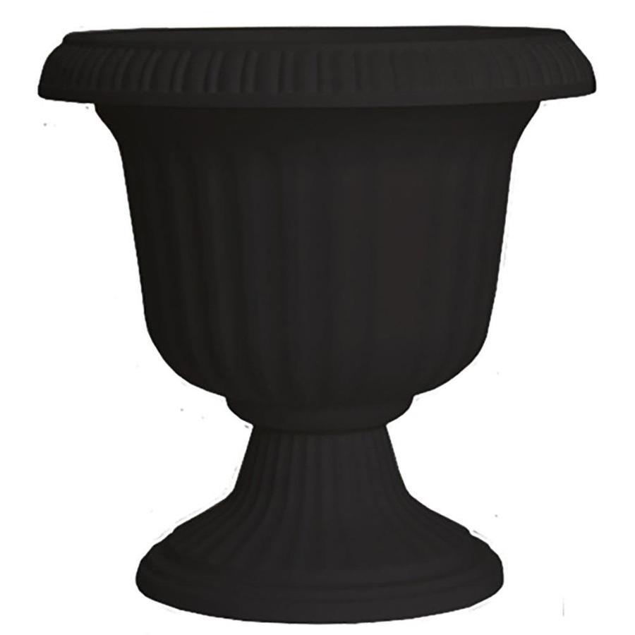 black resin planter in the pots