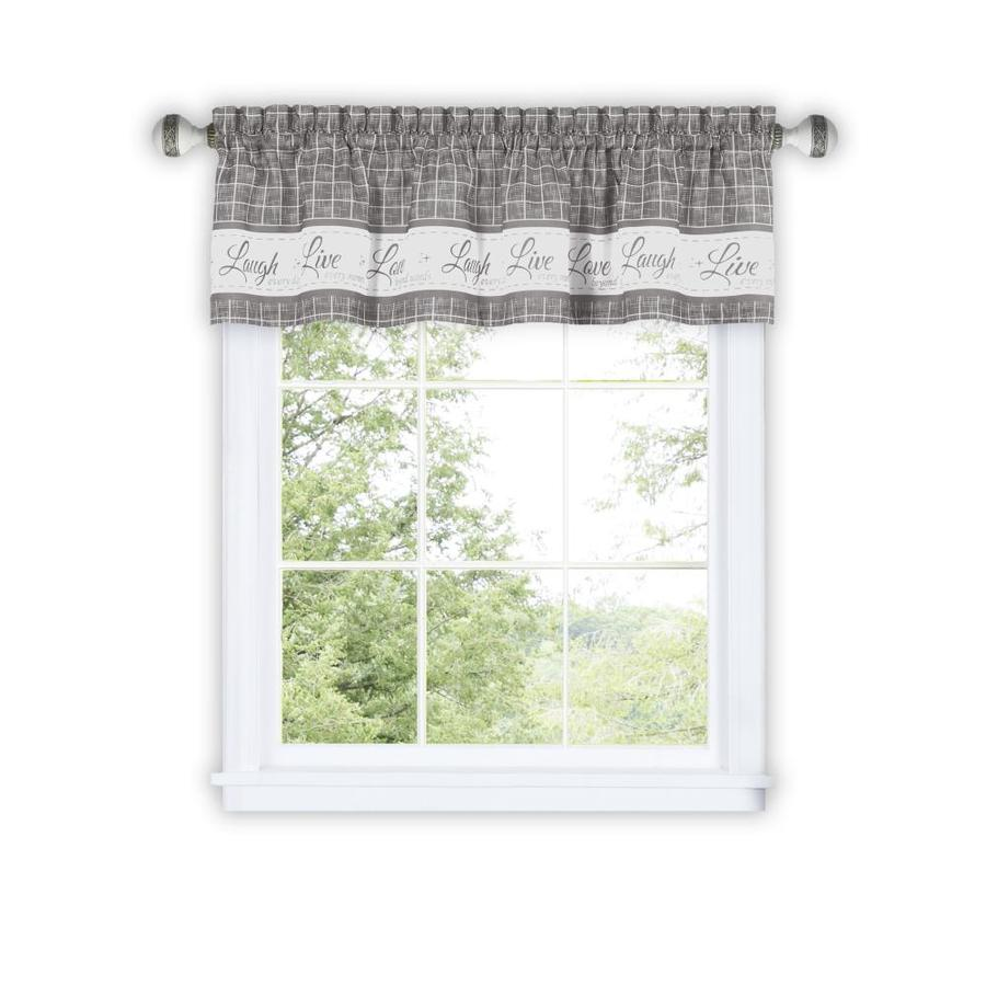 achim live love laugh 14 in grey polyester light filtering rod pocket curtain valance in the valances department at lowes com