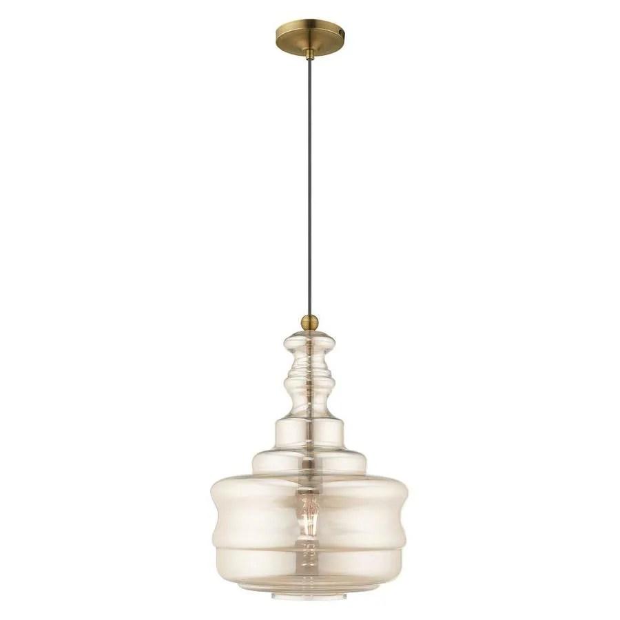 livex lighting art glass mini pendants antique brass transitional tinted glass schoolhouse pendant light