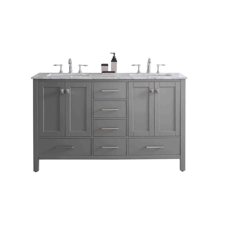 eviva aberdeen 60 in gray undermount double sink bathroom vanity with white marble top