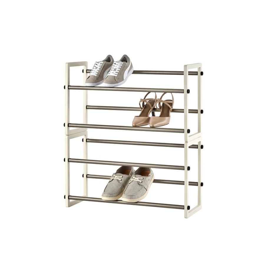 trinity basics 2 tier expandable shoe rack in white 2 pack