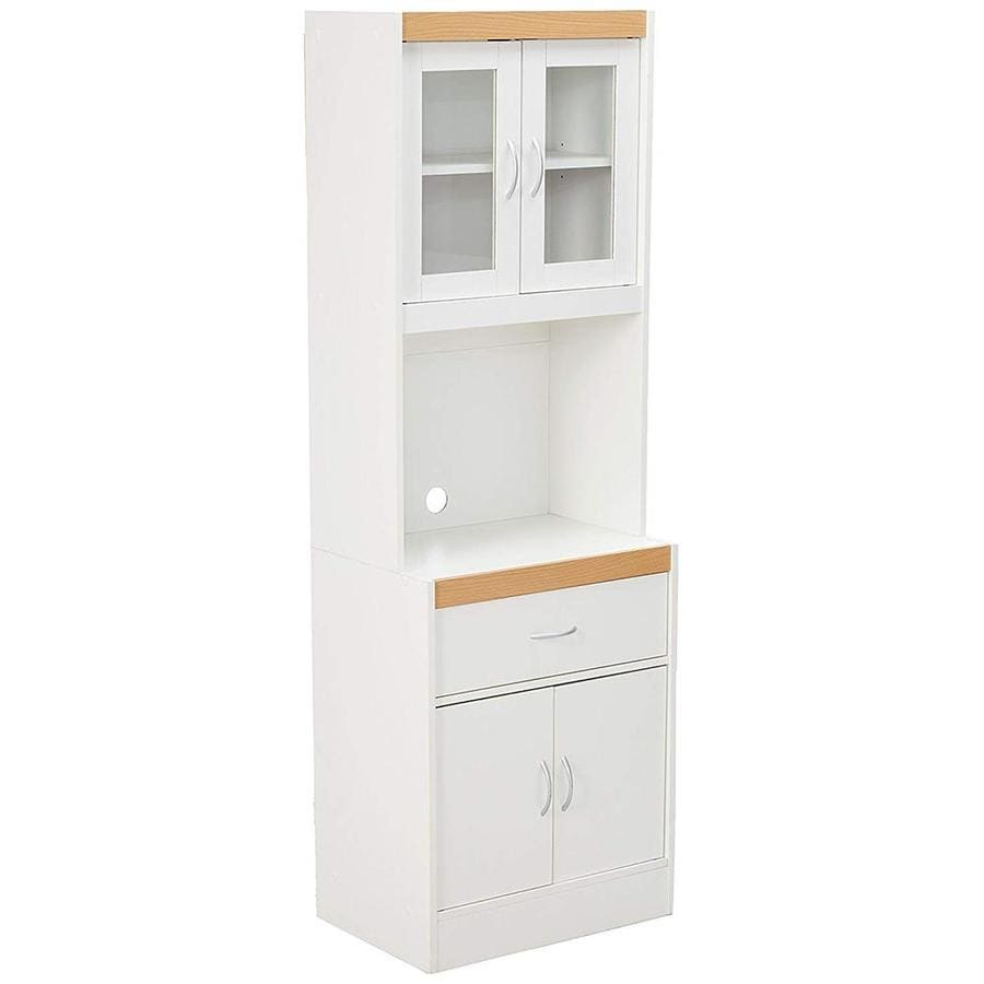 hodedah white wood base with wood top microwave cart 15 75 in x 23 85 in x 70 86 in lowes com