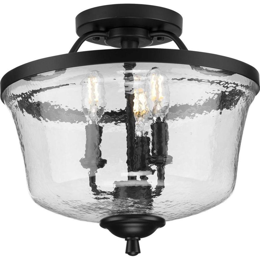 progress lighting bowman 13 375 in black coastal incandescent semi flush mount light