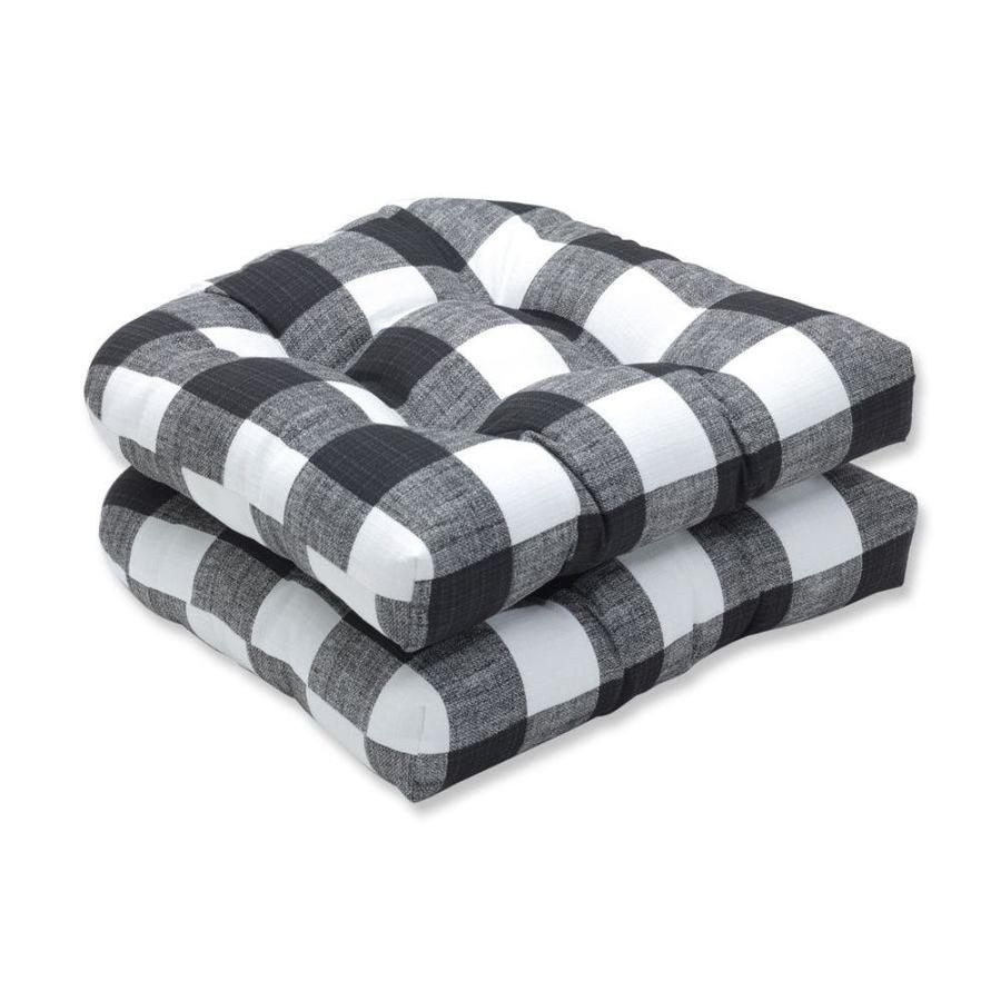 pillow perfect anderson matte 2 piece black patio chair cushion