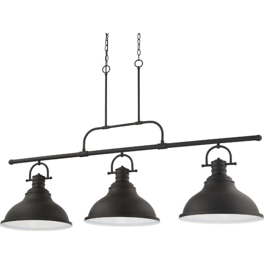https www lowes com pd volume lighting 3 light indoor foundry bronze linear kitchen island hanging pendant with bell shaped bowls 1002741826