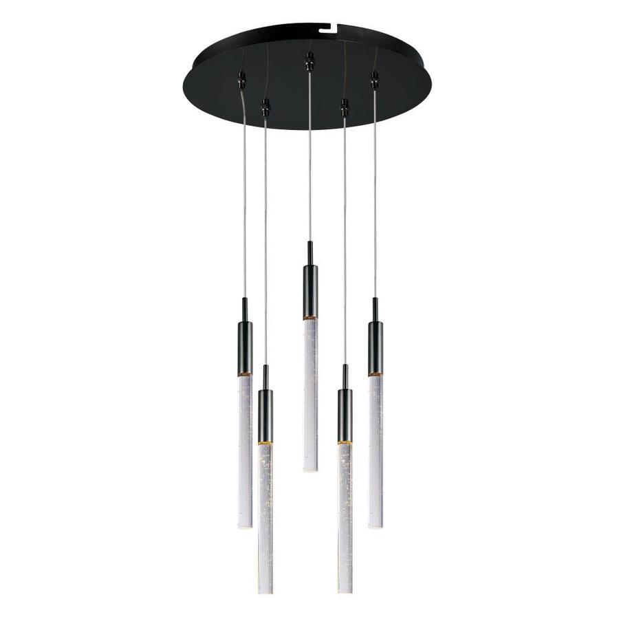 et2 scepter black chrome modern contemporary textured glass cylinder led pendant light