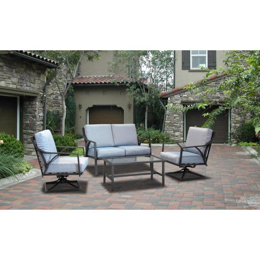 donglin furniture ogles 4pcs deep seating set 4 piece metal frame patio conversation set with cushion s included