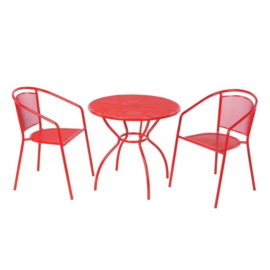alfresco home 26 3003 3 piece red frame patio set with