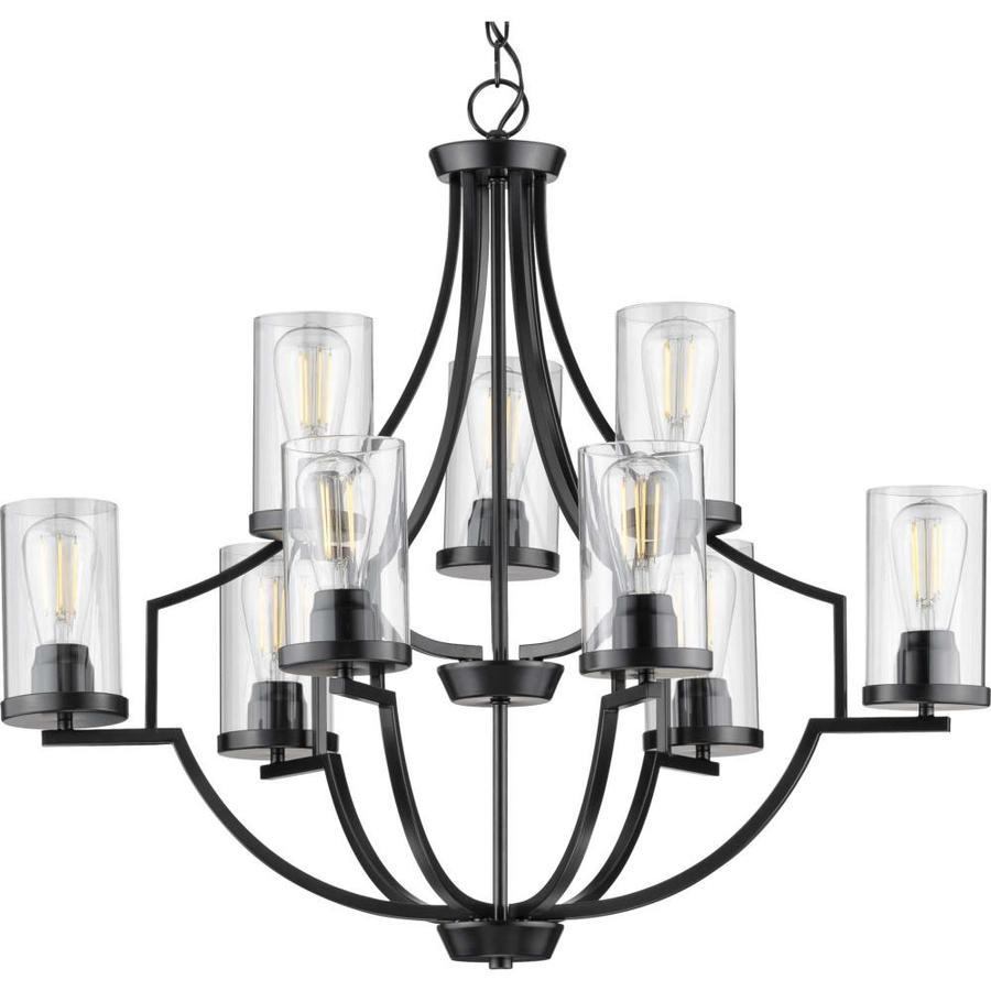 progress lighting lassiter 9 light black traditional chandelier