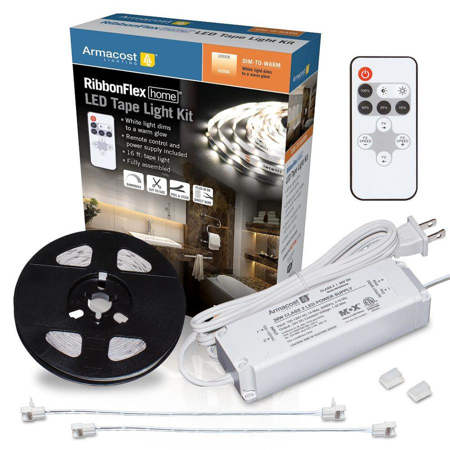 armacost lighting dim to warm led light kit 398 6 in hardwired plug in tape under cabinet lights with remote