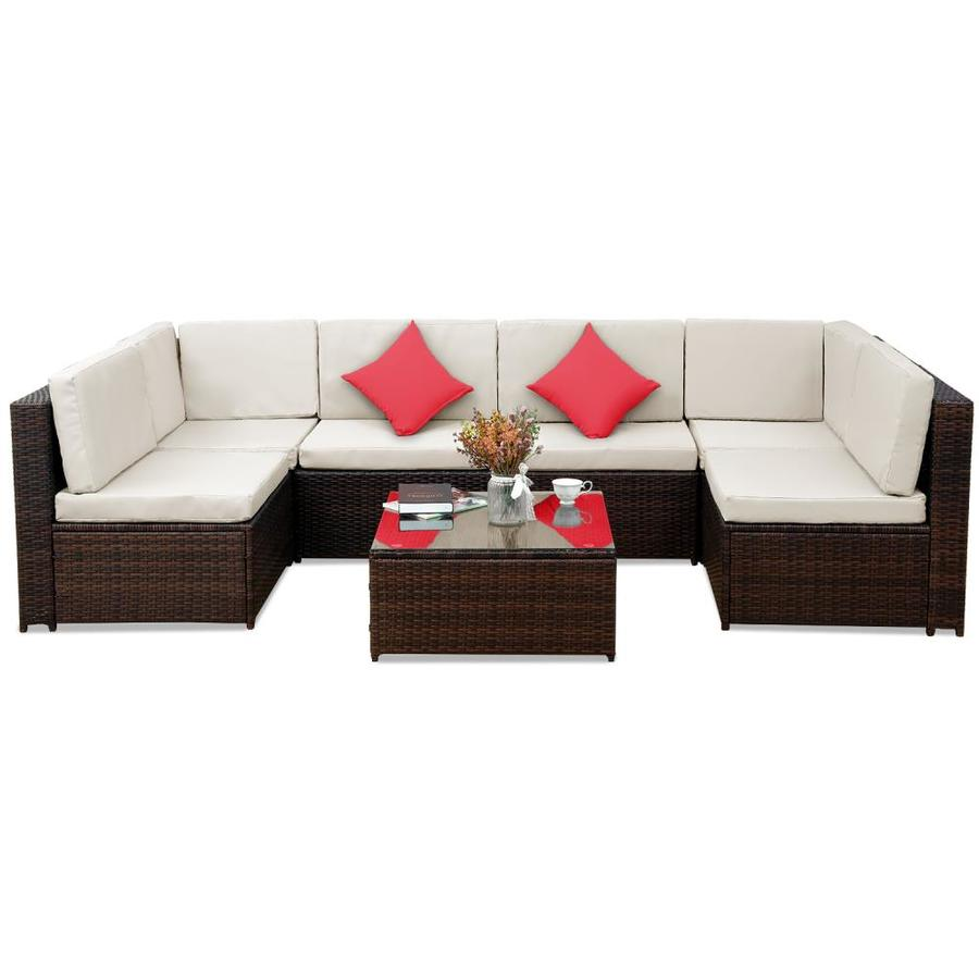casainc patio furniture 7 piece metal frame patio conversation set with cushion s included