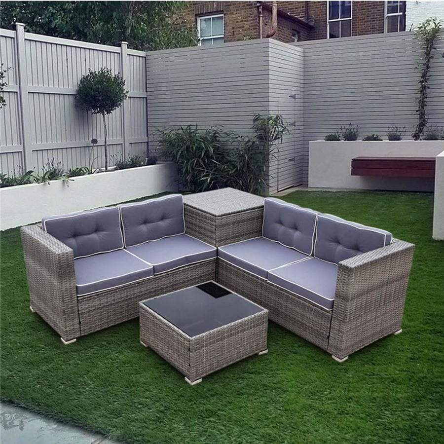 kinwell rattan outdoor furniture 4 piece resin frame patio conversation set with cushion s included
