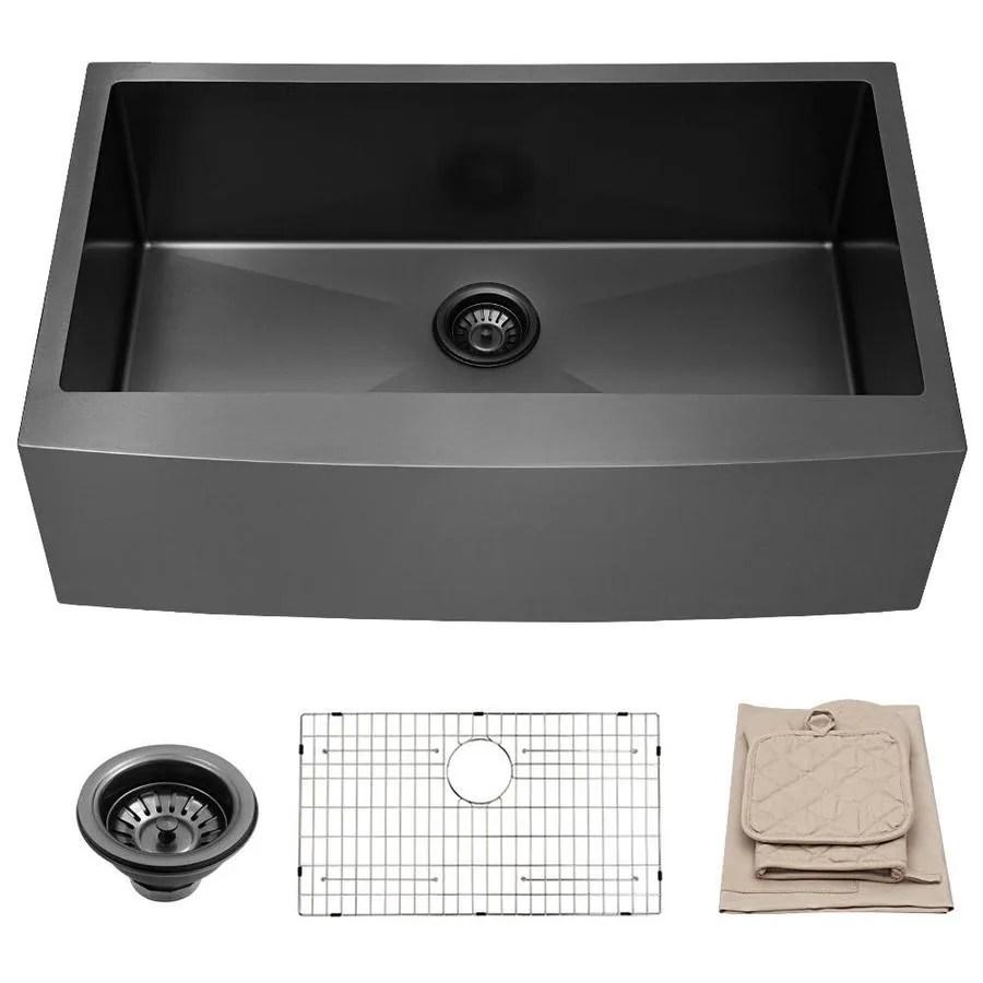 matrix decor farmhouse sink farmhouse apron front 36 in x 21 in matte black single bowl workstation kitchen sink
