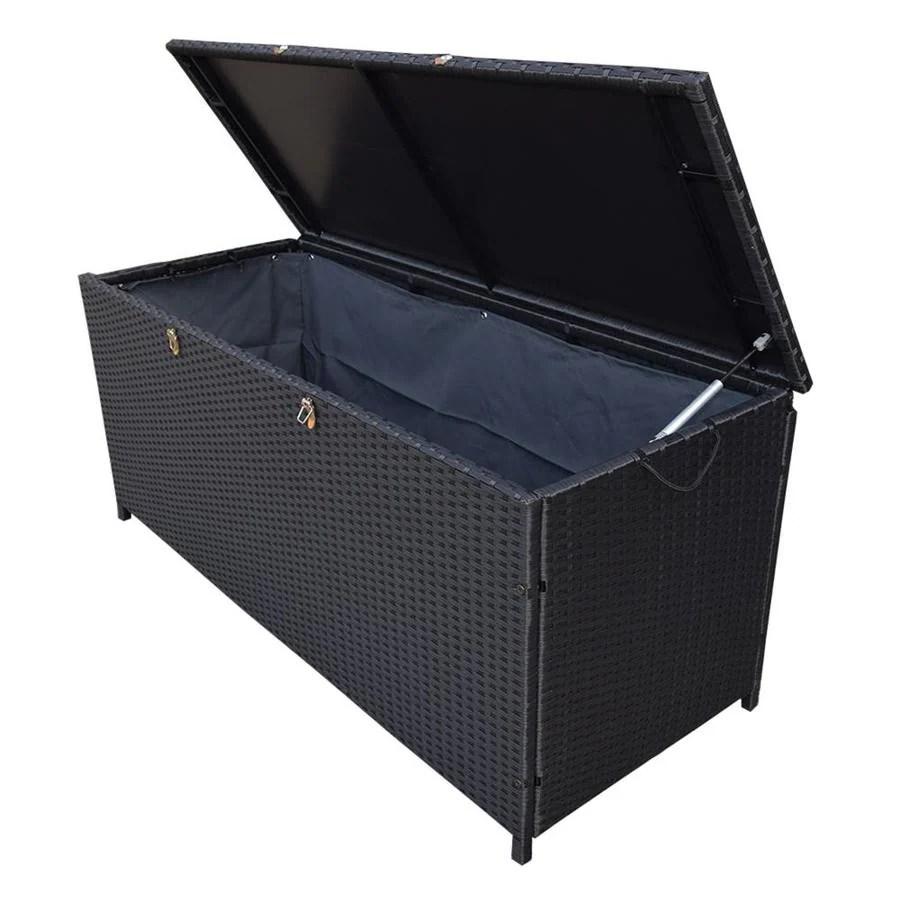 oakland living storage box 53 in l x 22 in 113 gallon black metal deck box