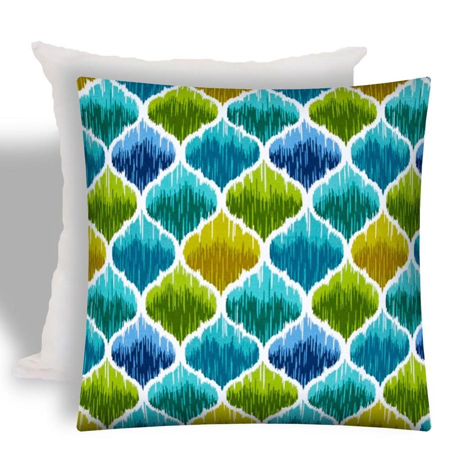 joita 17 in x 17 in aqua green navy blue gold white polyester square indoor decorative pillow in the throw pillows department at lowes com