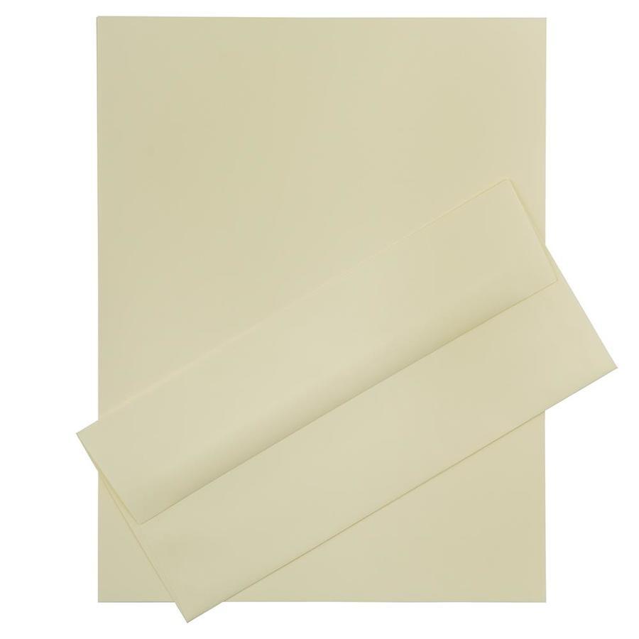 JAM Paper JAM Paper® Business Stationery Set, 100 Sheets of Paper and 100 #10 Envelopes, Strathmore Ivory Linen, set of 100
