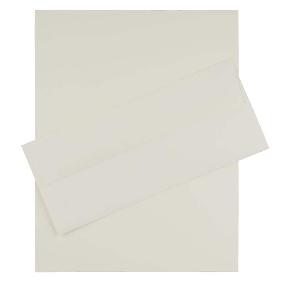JAM Paper JAM Paper® Business Stationery Set, 100 Sheets of Paper and 100 #10 Envelopes, Strathmore Natural White, set of 100