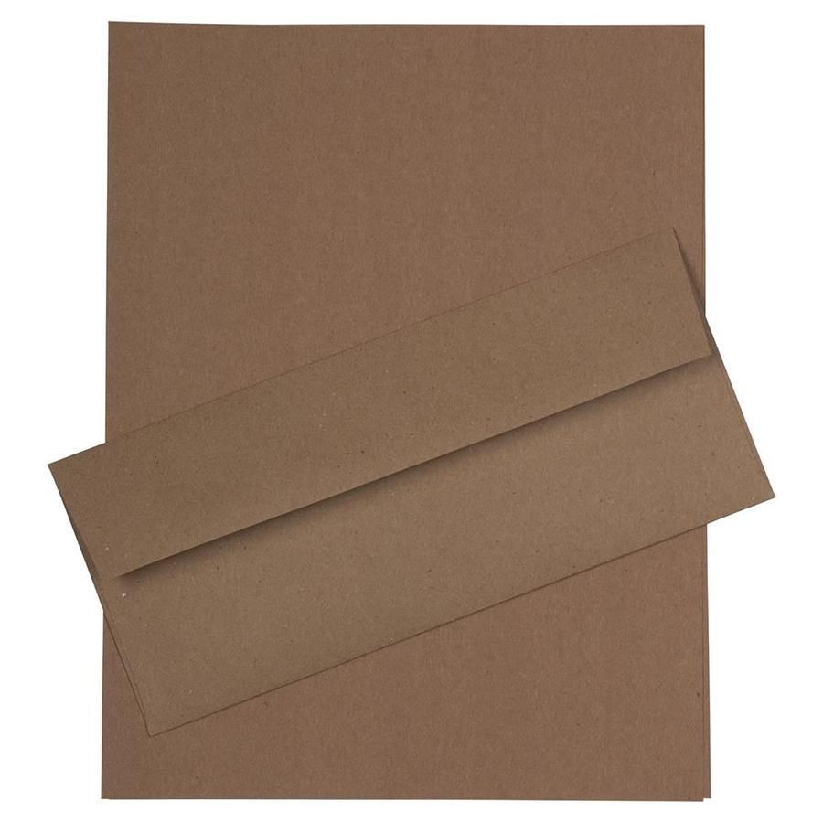 JAM Paper JAM Paper® Business Stationery Set, 50 Sheets of Paper, 50 #10 Envelopes, Brown Kraft Paper Bag Recycled, set of 50