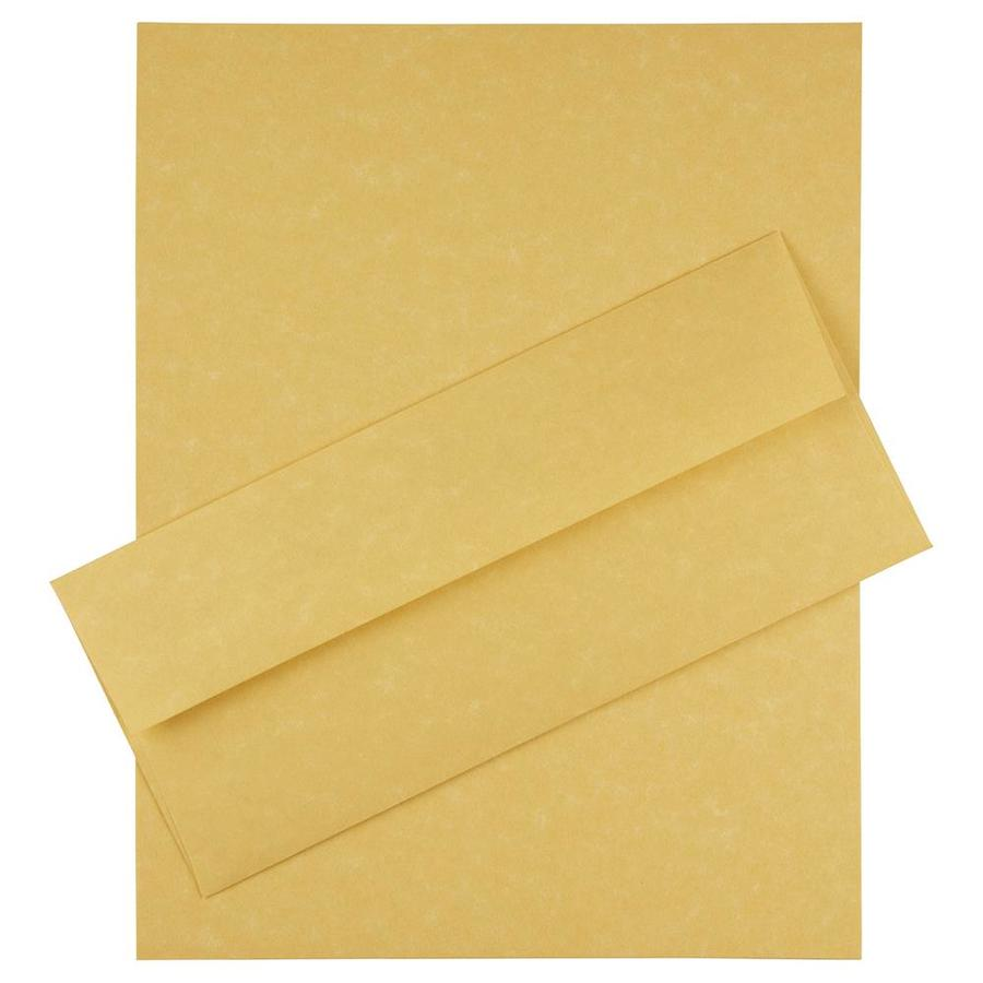 JAM Paper JAM Paper® Business Parchment Stationery Set, 100 Sheets of Paper and #10 Envelopes, Antique Gold Yellow, 100/set