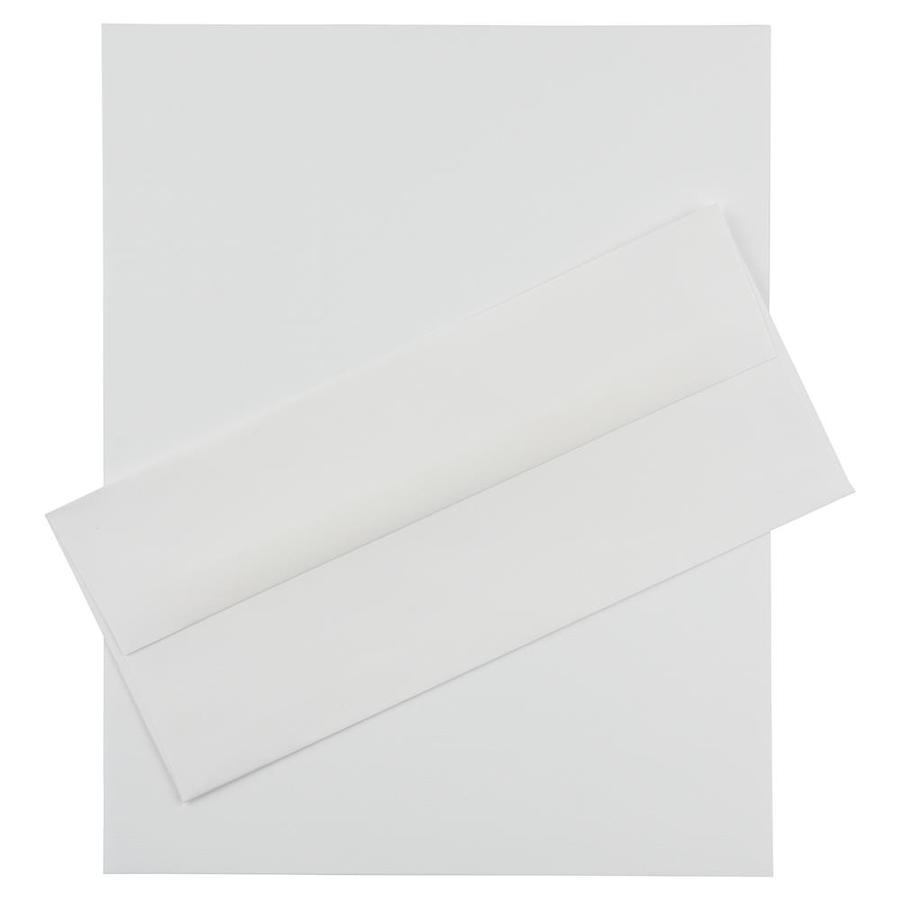 JAM Paper JAM Paper® Business Stationery Set, 100 Sheets of Paper and 100 #10 Envelopes, Strathmore Bright White Laid, 100/set