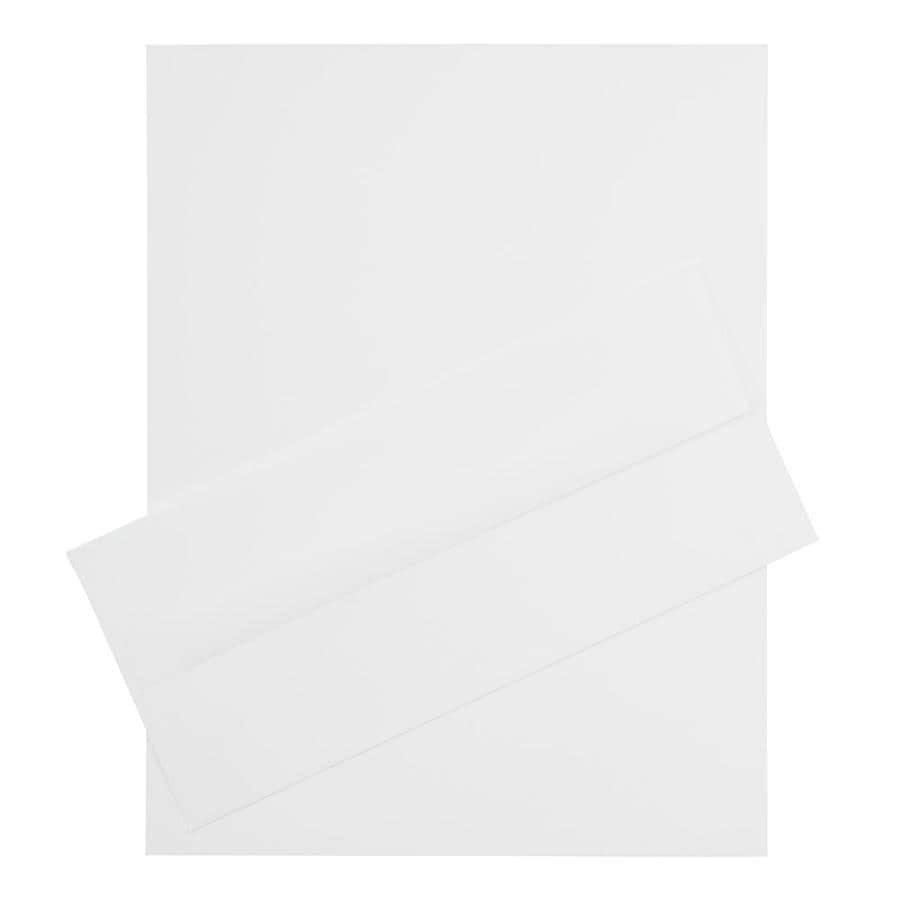 JAM Paper JAM Paper® Business Stationery Set, 100 Sheets of Paper, 100 #10 Envelopes, Strathmore Bright White Linen, 100/set