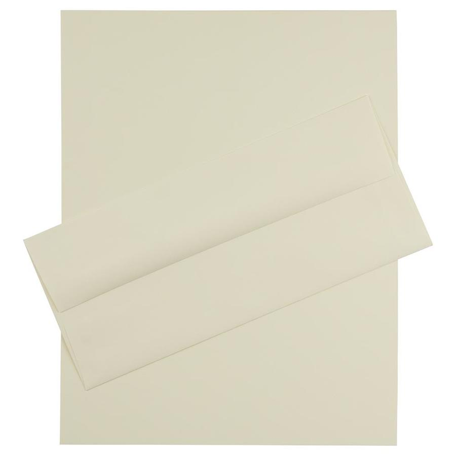 JAM Paper JAM Paper® Business Stationery Set, 100 Sheets of Paper and 100 #10 Envelopes, Strathmore Ivory Laid, set of 100