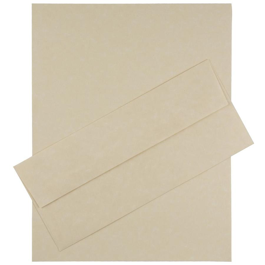 JAM Paper JAM Paper® Business Parchment Stationery Set, 100 Sheets of Paper and 100 #10 Envelopes, Natural Recycled, 100/set