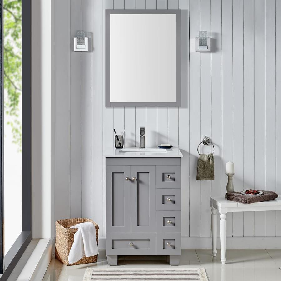 eviva acclaim 24 in gray undermount single sink bathroom vanity with white quartz top