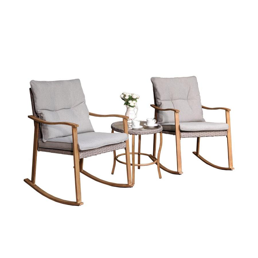 cosiest 2 wooden metal frame rocking chair s with cushioned seat