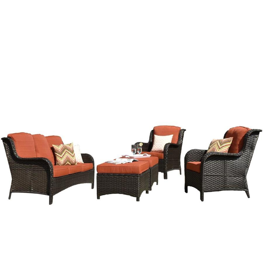 ovios new kenard 5 piece 5 piece metal frame patio conversation set with cushion s included