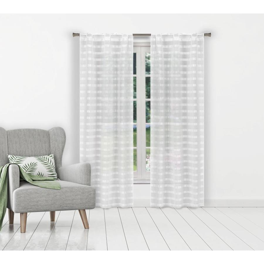 duck river textile 84 in white polyester sheer standard lined rod pocket curtain panel pair