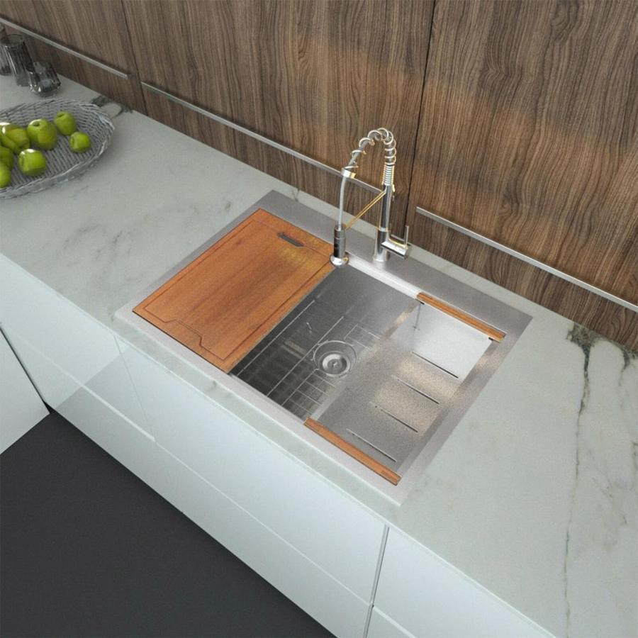 lordear drop in workstation kitchen sink drop in 28 in x 22 in stainless steel single bowl 2 hole workstation kitchen sink