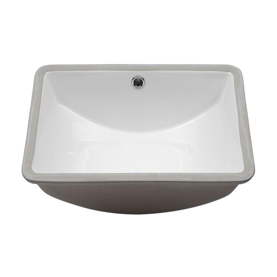 lordear porcelain vanity sink white ceramic undermount rectangular bathroom sink with overflow drain 18 in x 14 in