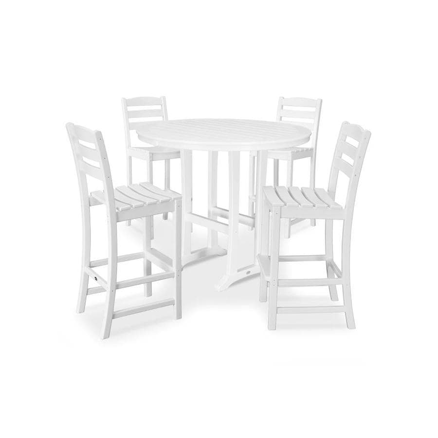 https www lowes com pd polywood la casa 5 piece white frame bar height patio set with bar height 1002845610