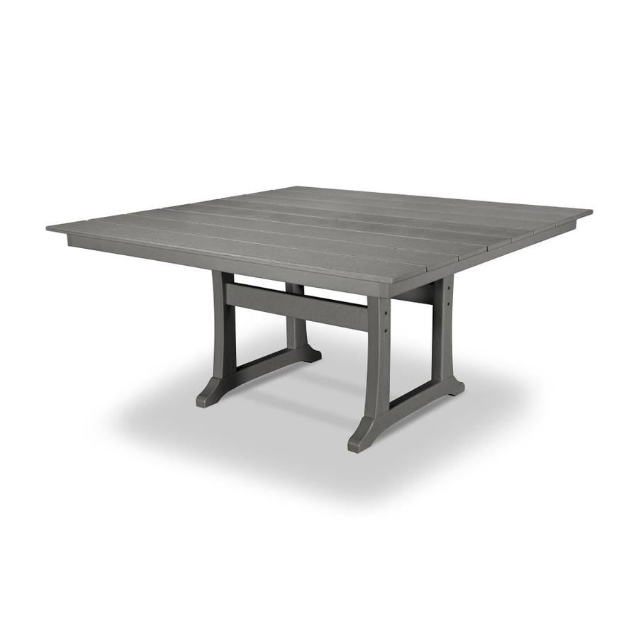 trex outdoor furniture tables square outdoor dining table 59 38 in w x 59 5 in l with umbrella hole in the patio tables department at lowes com
