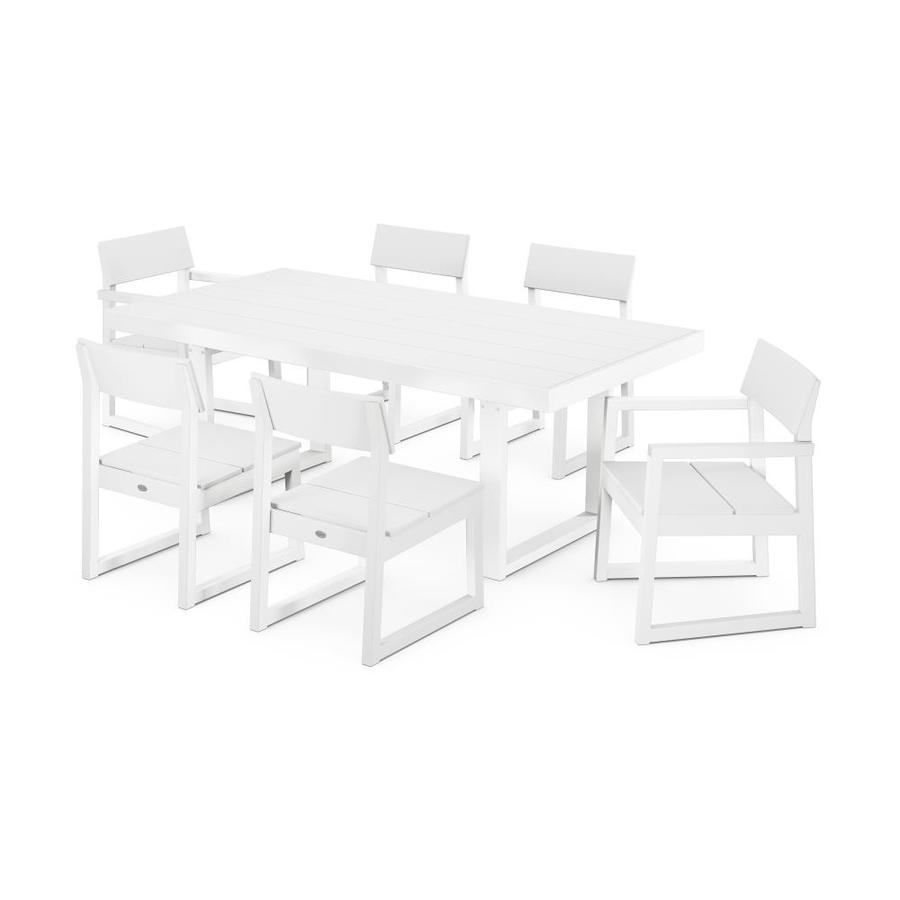 polywood edge 7 piece white frame patio