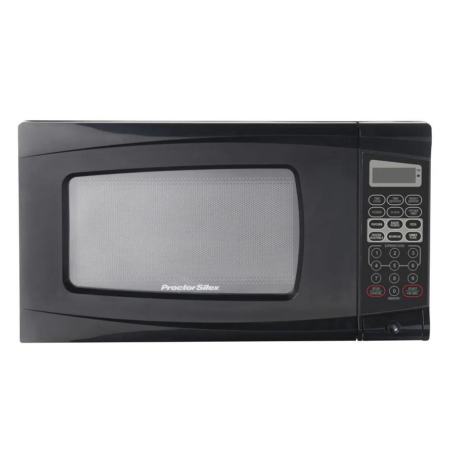 proctor silex 0 7 cu ft 700 watt countertop microwave black lowes com