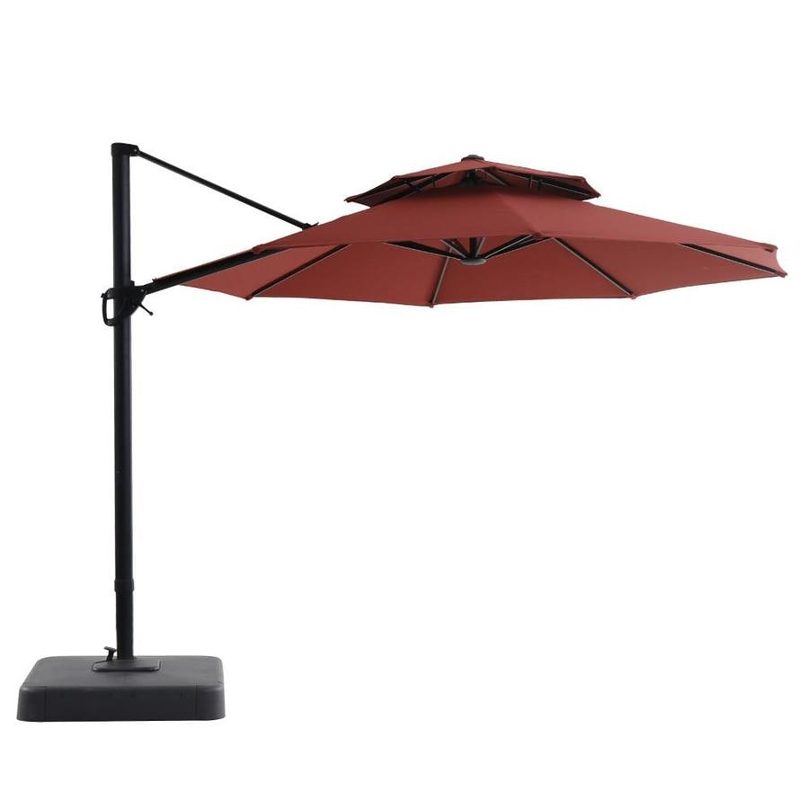 royal garden red offset 11 ft push button tilt round patio umbrella with black aluminum frame and base