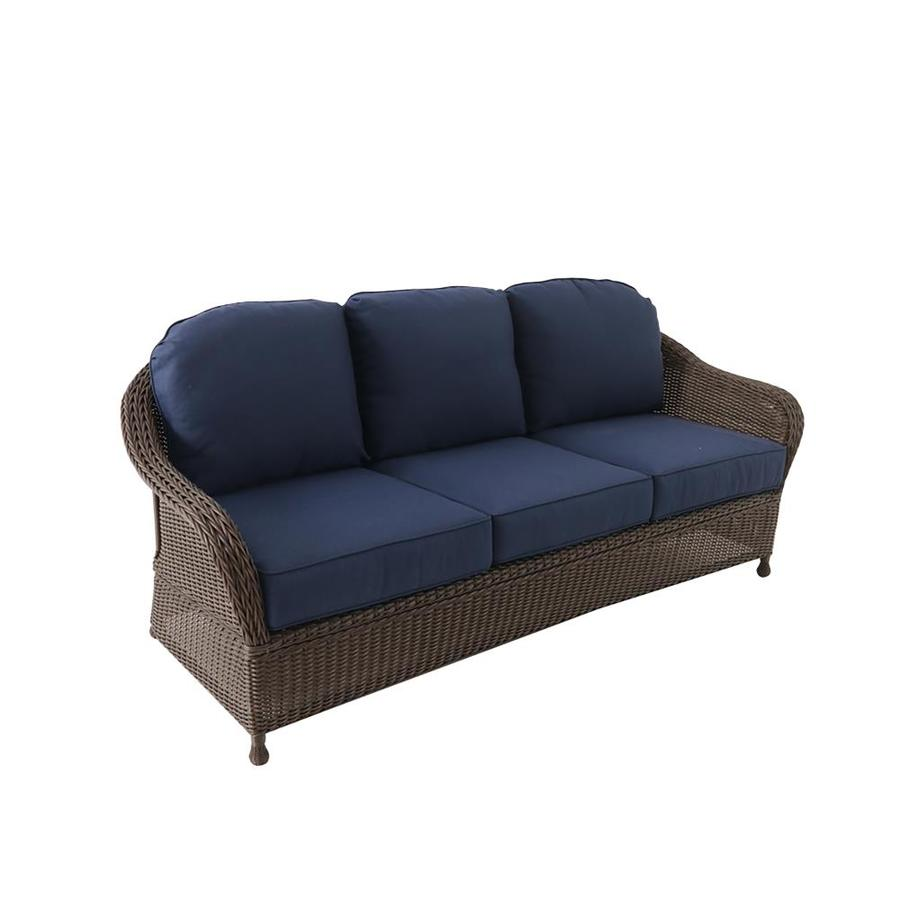 allen roth mcaden wicker outdoor sofa with cushion and blue steel frame