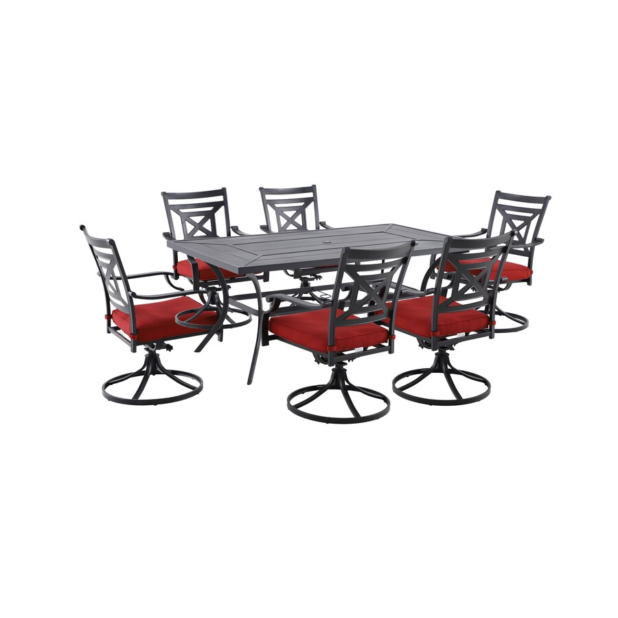 garden treasures kingsmead 7 piece black frame patio set with red olefin cushion s included