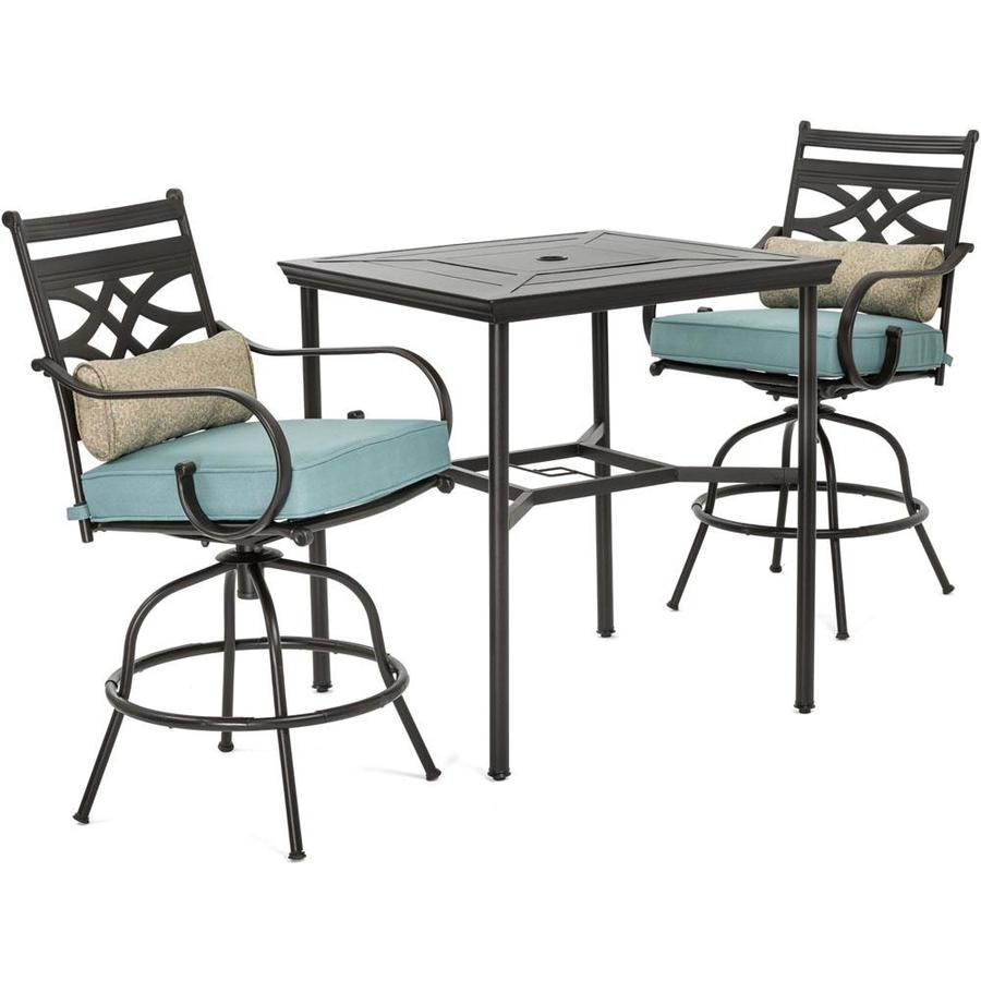 https www lowes com pd hanover montclair 3 piece brown frame bar height patio set with ocean blue cushions bar height 1000701738