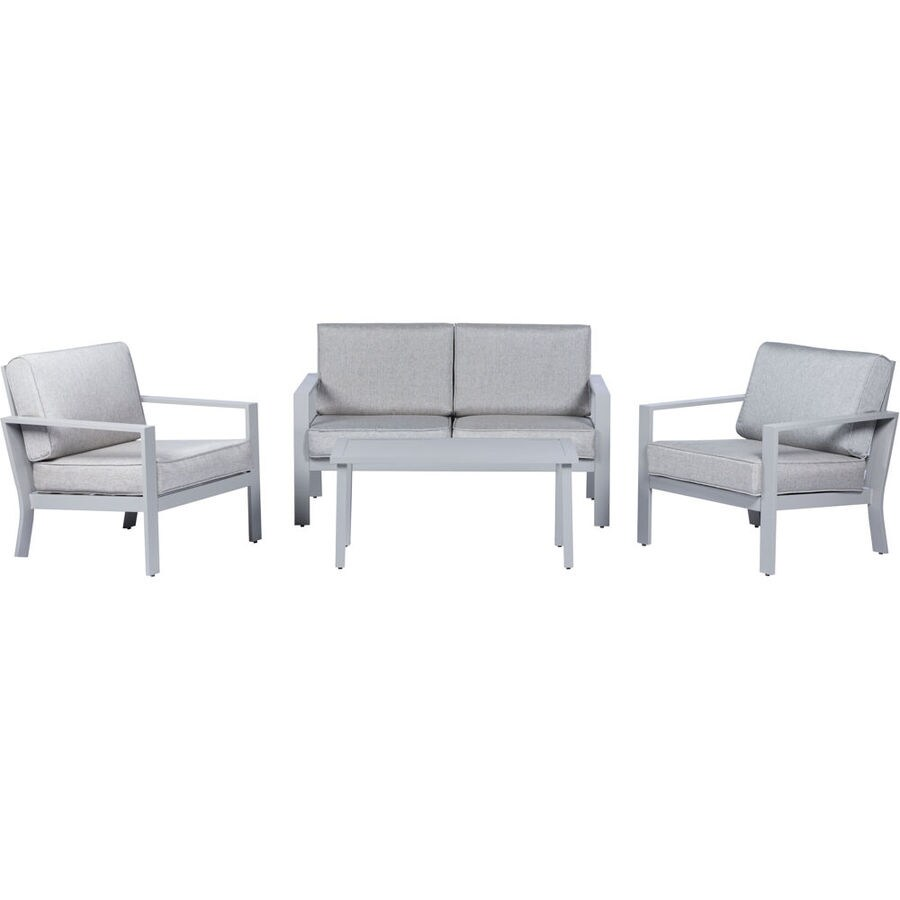 mod furniture kinsley 4 piece metal frame patio conversation set with mod furniture cushion s included