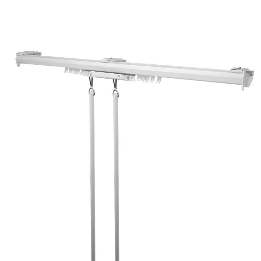 hart harlow baton draw 120 in to 170 in white steel traverse curtain rod