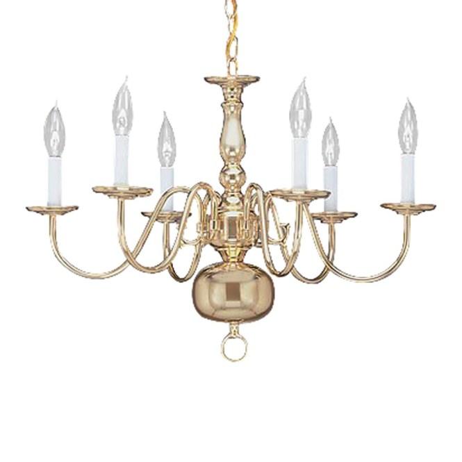 Livex Lighting Williamsburg 24 In 6 Light Polished Brass Candle Chandelier