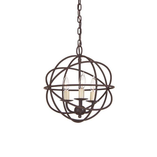 Jvi Designs 12 In 3 Light Rust Wrought Iron Globe Chandelier