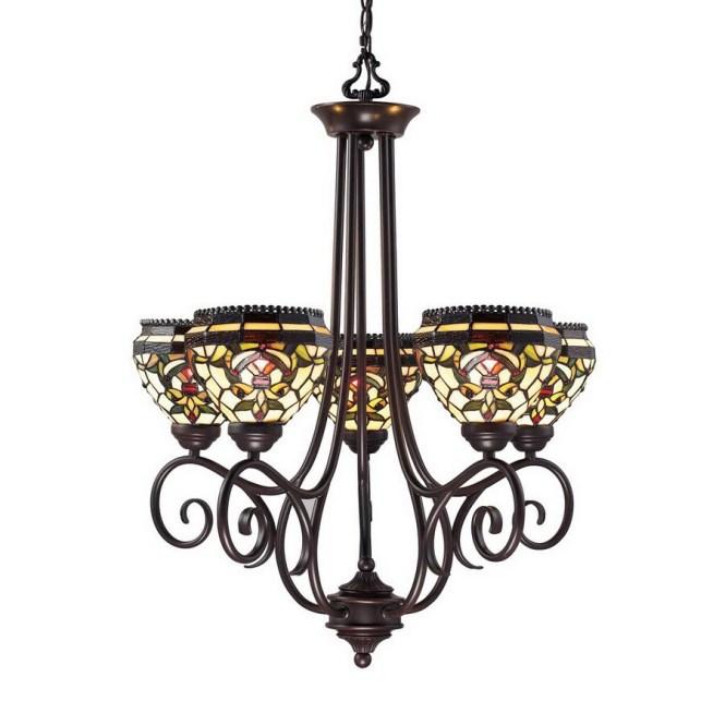 Z Lite 5 Light Templeton Chestnut Bronze Tiffany Style Chandelier