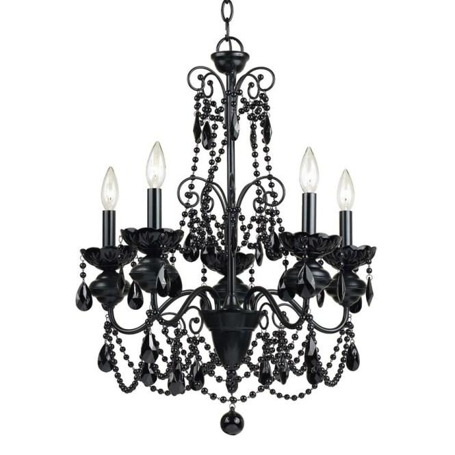 Af Lighting Mischief 21 In 5 Light Black Candle Chandelier
