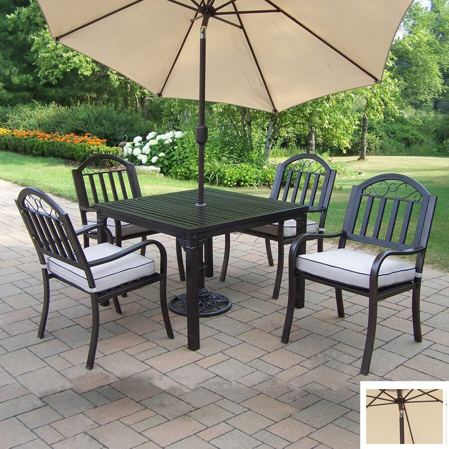 oakland living 5 piece cushioned wrought iron patio dining set in the patio dining sets department at lowes com